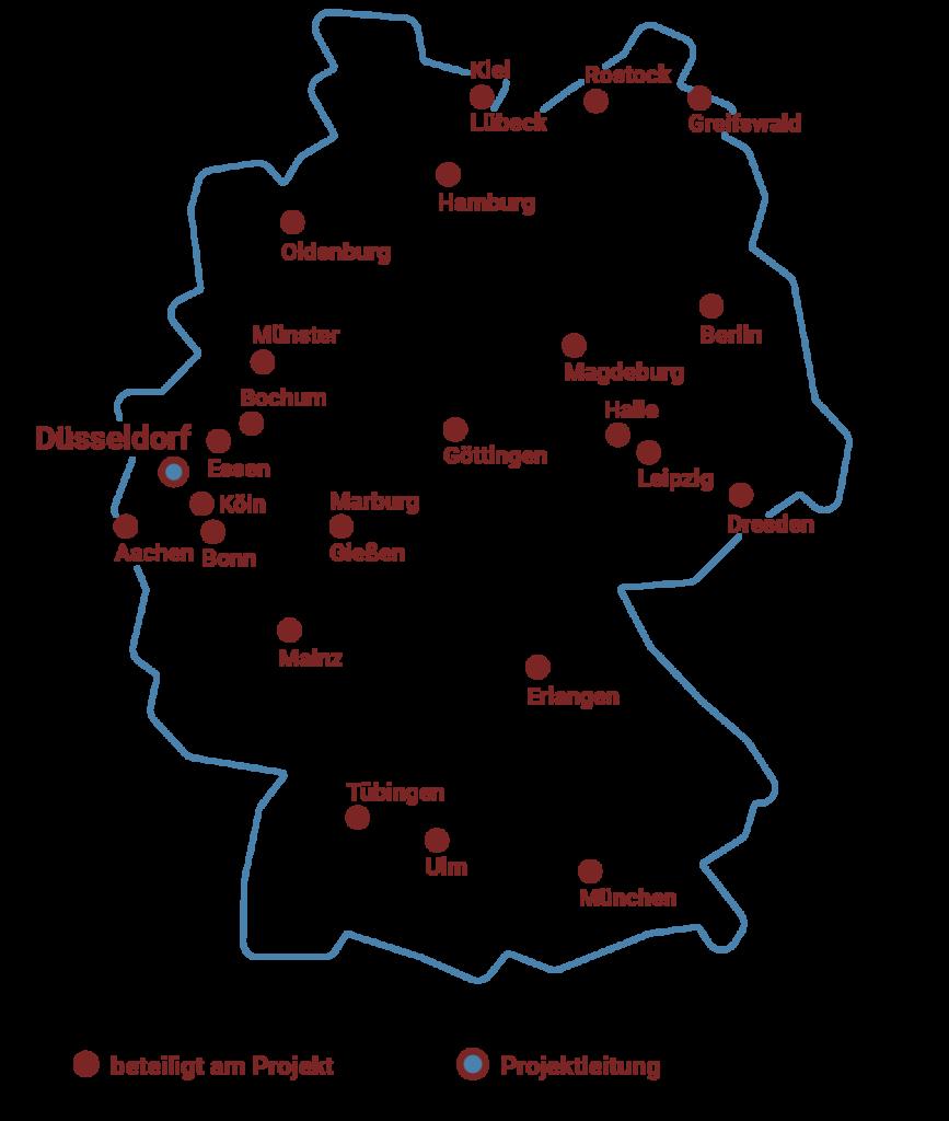Standorte der Mitglieder Forschungsnetzwerks MethodCOV